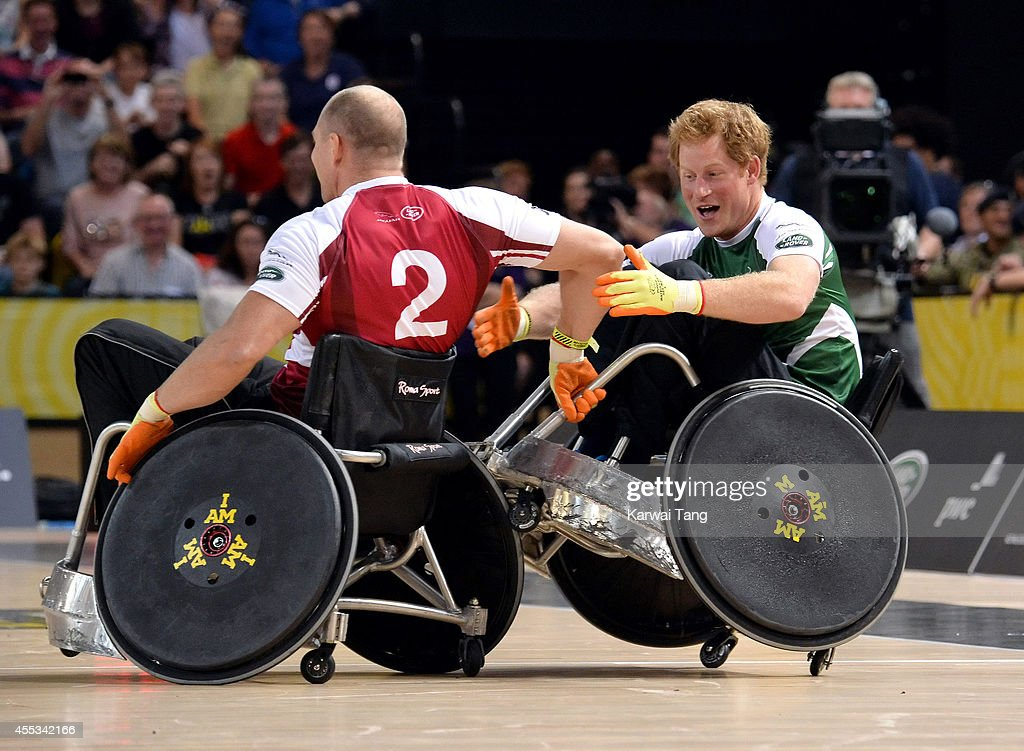 Mike Tindall and Prince Harry in action today during an exhibition match of wheelchair rugby at the Invictus Games at Copperbox Queen Elizabeth Park...