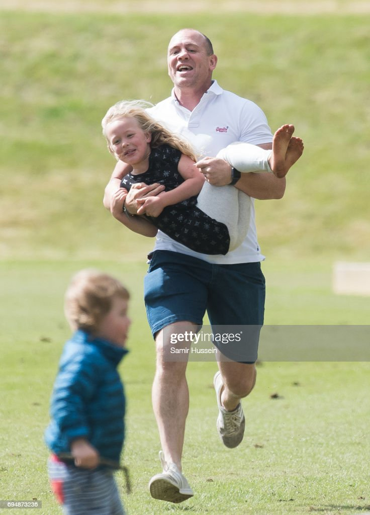 Mike Tindall and Savannah Phillips attend the Maserati Royal Charity Polo Trophy at Beaufort Polo Club on June 11, 2017 in Tetbury, England.