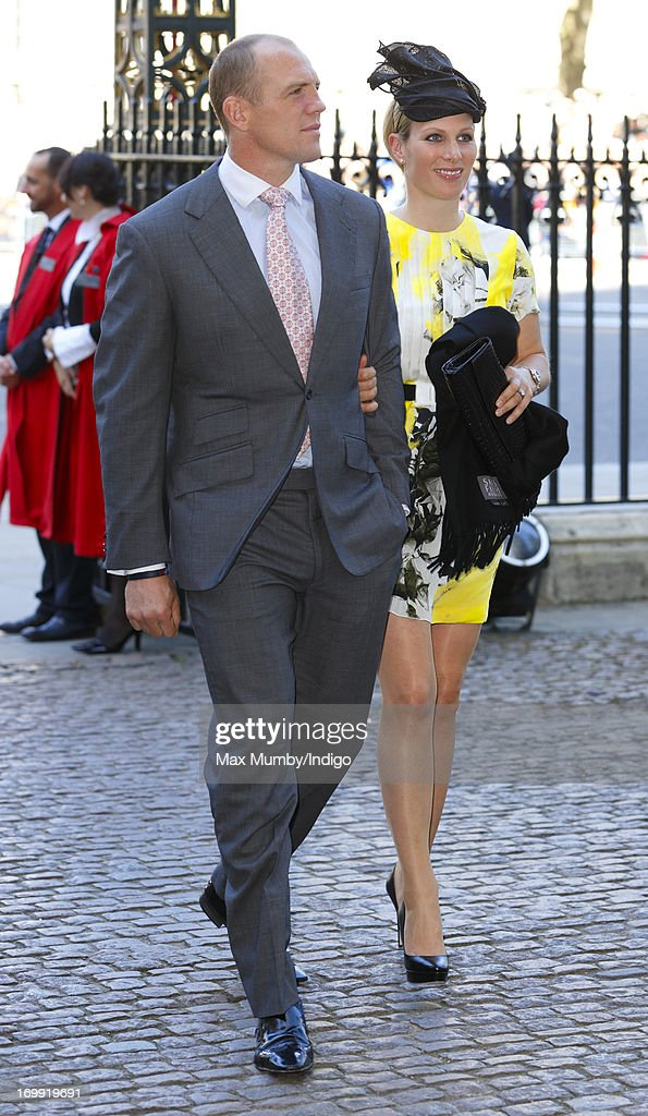 Mike Tindall and Zara Phillips attend a service of celebration to mark the 60th anniversary of the Coronation of Queen Elizabeth II at Westminster Abbey on June 4, 2013 in London, England. The Queen's Coronation took place on June 2, 1953 after a period of mourning for her father King George VI, following her ascension to the throne on February 6, 1952. The event 60 years ago was the first time a coronation was televised for the public.