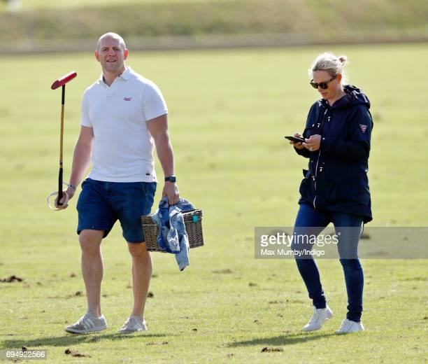 Mike Tindall and Zara Phillips attend the Maserati Royal Charity Polo Trophy Match during the Gloucestershire Festival of Polo at the Beaufort Polo...
