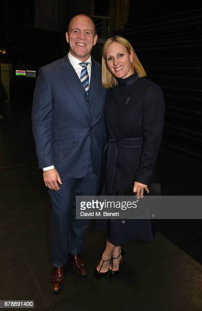 Mike Tindall and Zara Tindall pose backstage at the West End production of '42nd Street' at the Theatre Royal Drury Lane on May 4 2017 in London...