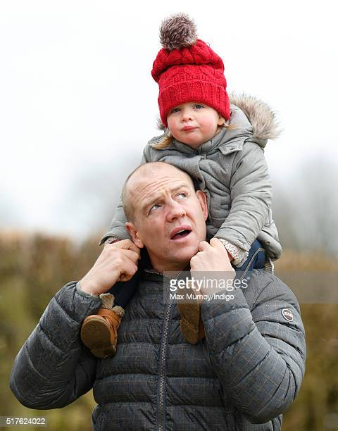 Mike Tindall carries daughter Mia Tindall on his shoulders as they attend the Gatcombe Horse Trails at Gatcombe Park Minchinhampton on March 26 2016...