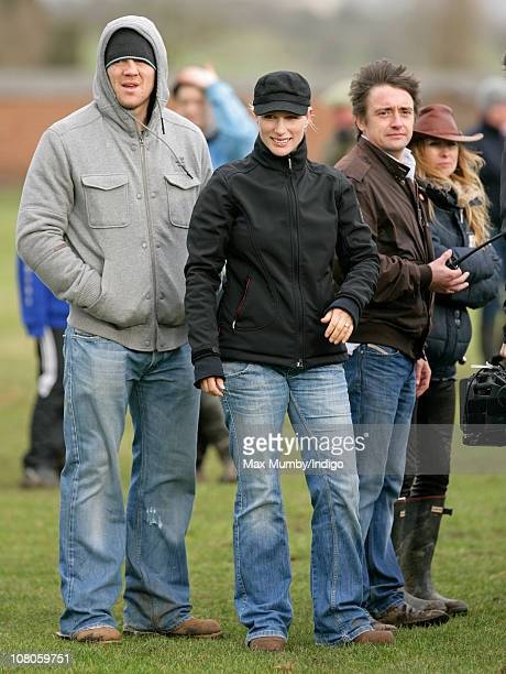 Mike Tindall fiance Zara Phillips and Richard Hammond attend the Hayes Golden Button Challenge steeplechase horse race in the village of Tirley on...