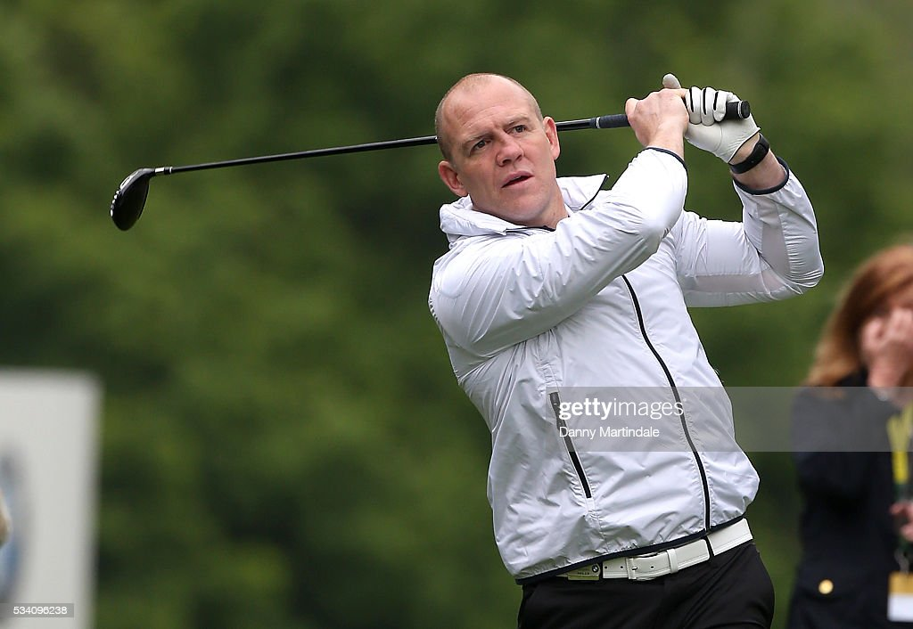Mike Tindall plays at the BMW PGA Celebrity Pro-Am Golf Championship at Wentworth on May 25, 2016 in Virginia Water, England.