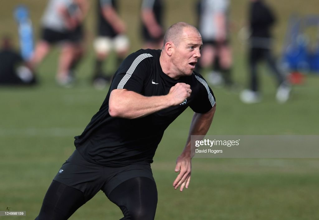 Mike Tindall runs after a loose ball during an England IRB Rugby World Cup 2011 training session at Queenstown Events Centre on September 15 2011 in...