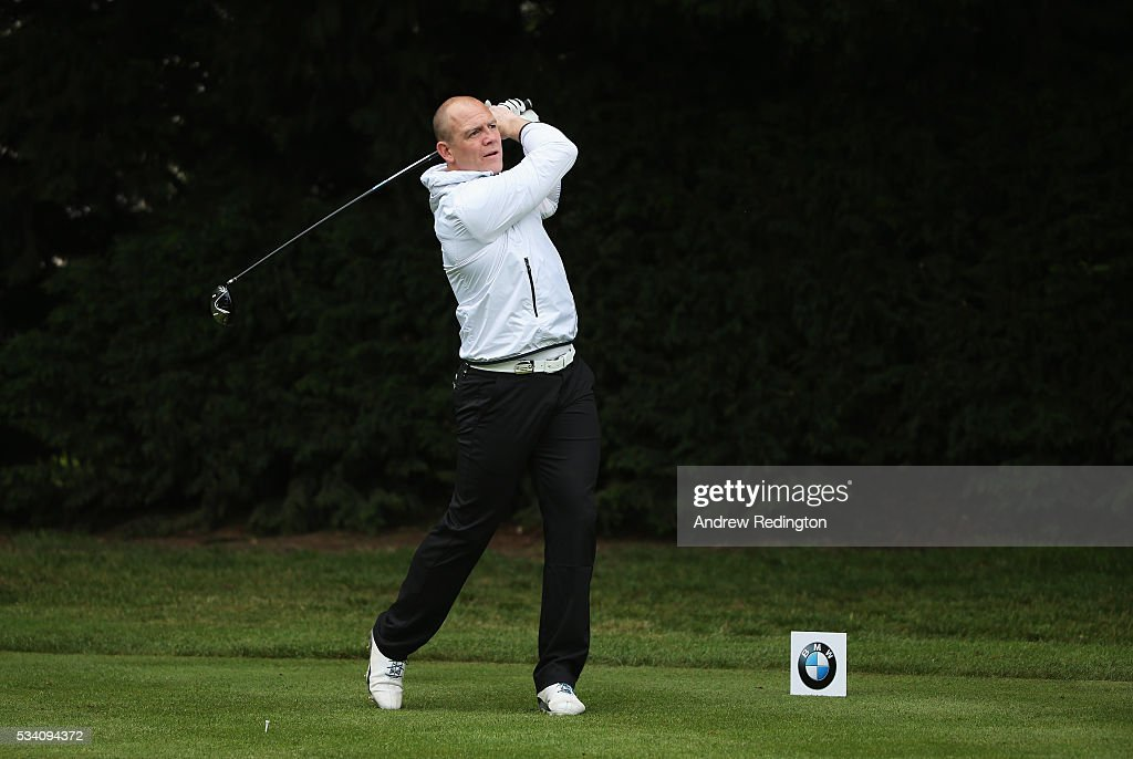 Mike Tindall tees off during the Pro-Am prior to the BMW PGA Championship at Wentworth on May 25, 2016 in Virginia Water, England.