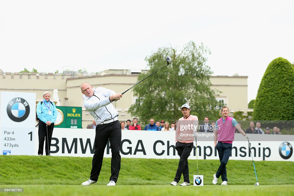 <a gi-track='captionPersonalityLinkClicked' href=/galleries/search?phrase=Mike+Tindall&family=editorial&specificpeople=204210 ng-click='$event.stopPropagation()'>Mike Tindall</a> tees off during the Pro-Am prior to the BMW PGA Championship at Wentworth on May 25, 2016 in Virginia Water, England.