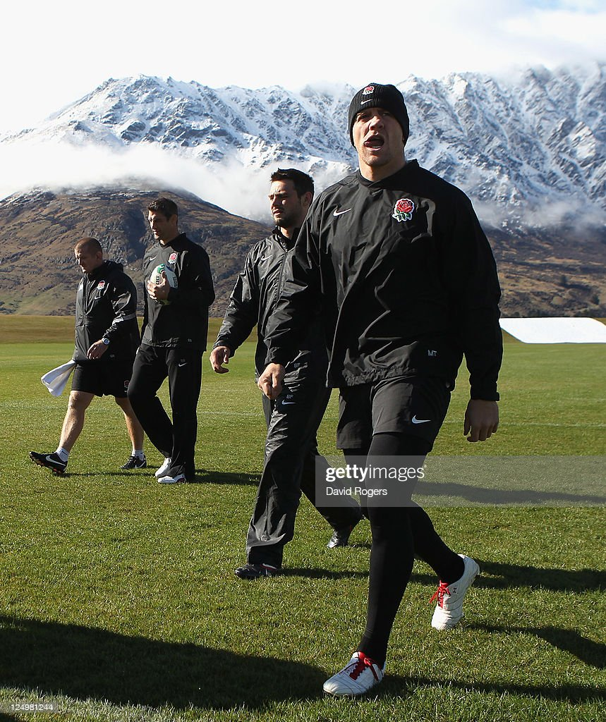 Mike Tindall the England centre walks onto the field during an England IRB Rugby World Cup 2011 training session at Queenstown Events Centre on...