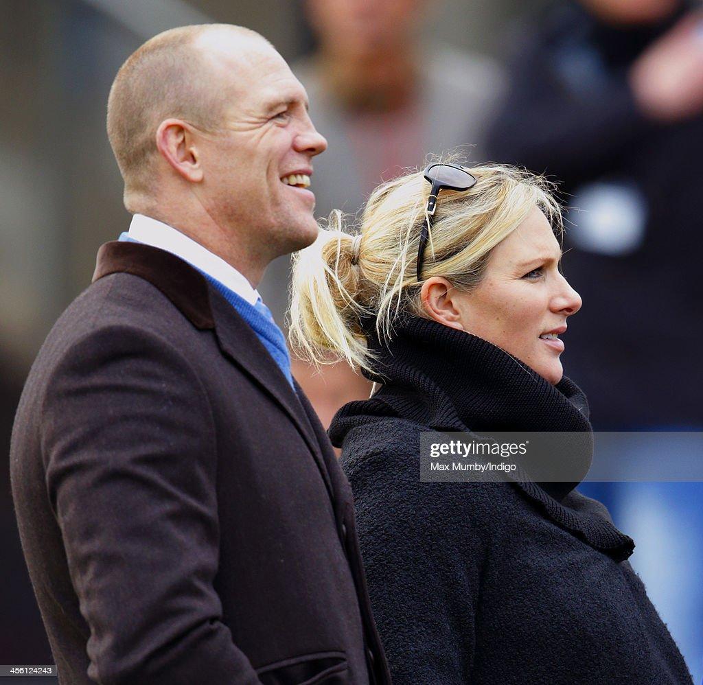 Mike Tindall & Zara Phillips attend The International meeting at Cheltenham Racecourse on December 13, 2013 in Cheltenham, England.