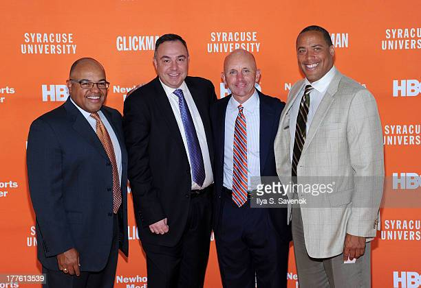 Mike Tirico Bill Roth Sean McDonough and Don McPherson attend Syracuse University special screening of the HBO documentary 'GLICKMAN' at Time Warner...