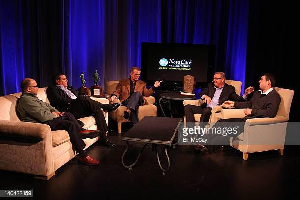 Mike Tirico Brady Hoke Lou Tilley Ron Jaworski and Andrew Luck attend the filming of 'Stars of Maxwell Football Club Discussion Table' at Harrah's...