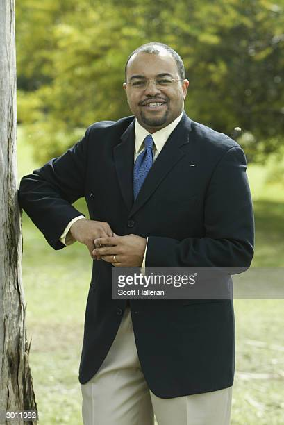Mike Tirico of ABC Sports during the final round of the Nissan Open on February 22 2004 at Riviera Country Club in Pacific Palisades California