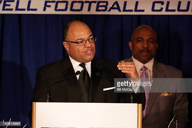 Mike Tirico the winner of the 9th Annual Harrah's Broadcast Awardl attends the 75th Annual Maxwell Football Club National Awards Dinner at Harrah's...