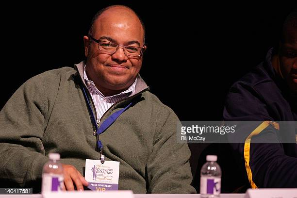 Mike Tirico winner of the Harrah's Broadcaster Award attends the 75th Annual Maxwell Football Club National Awards Dinner Press Conference at...
