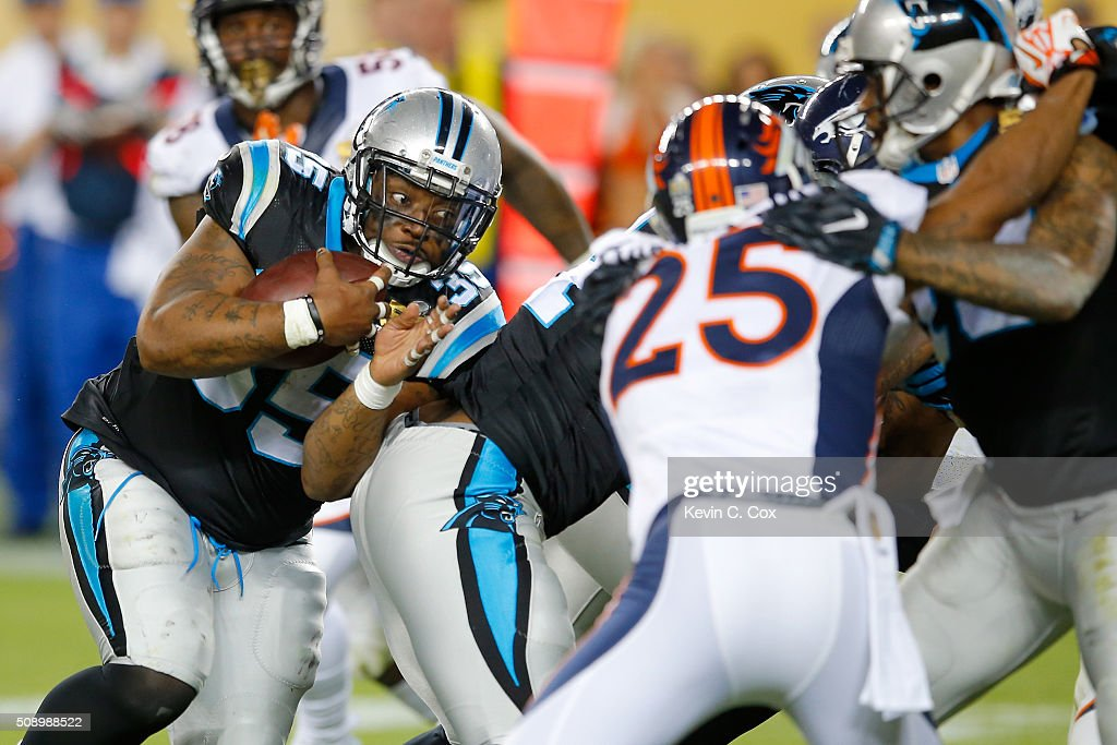 Mike Tolbert of the Carolina Panthers carries the ball during the fourth quarter against the Denver Broncos in Super Bowl 50 at Levi's Stadium on...