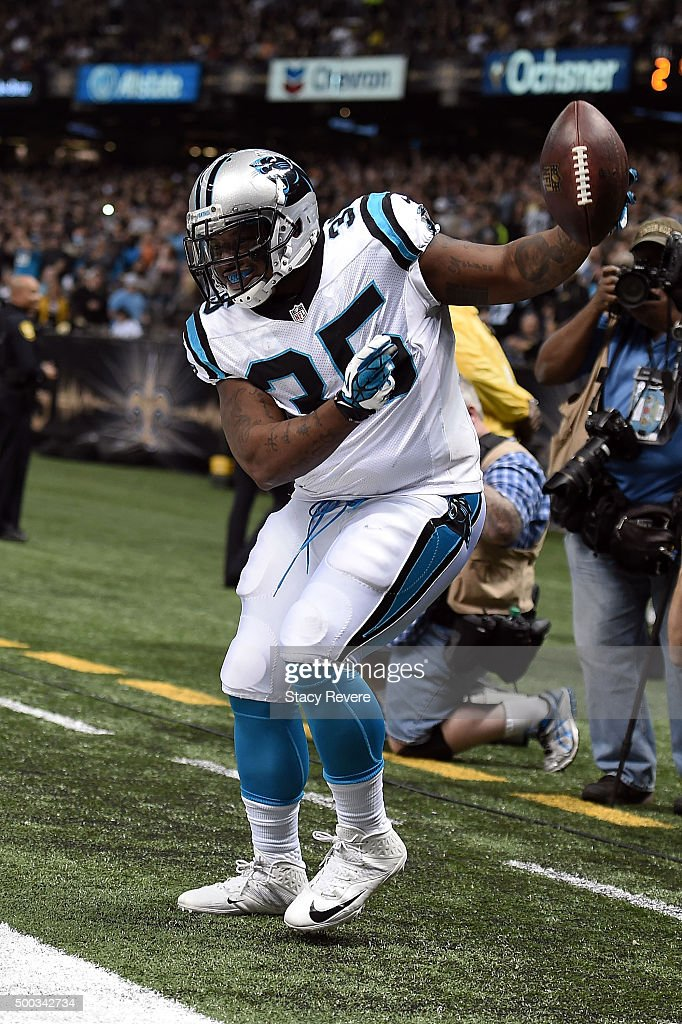 Mike Tolbert of the Carolina Panthers dances after scoring a touchdown against the New Orleans Saints at the MercedesBenz Superdome on December 6...