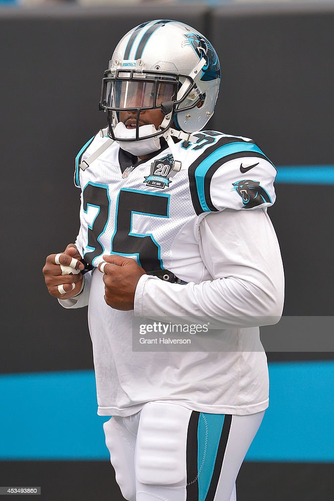 Mike Tolbert of the Carolina Panthers during their game against the Buffalo Bills at Bank of America Stadium on August 8 2014 in Charlotte North...