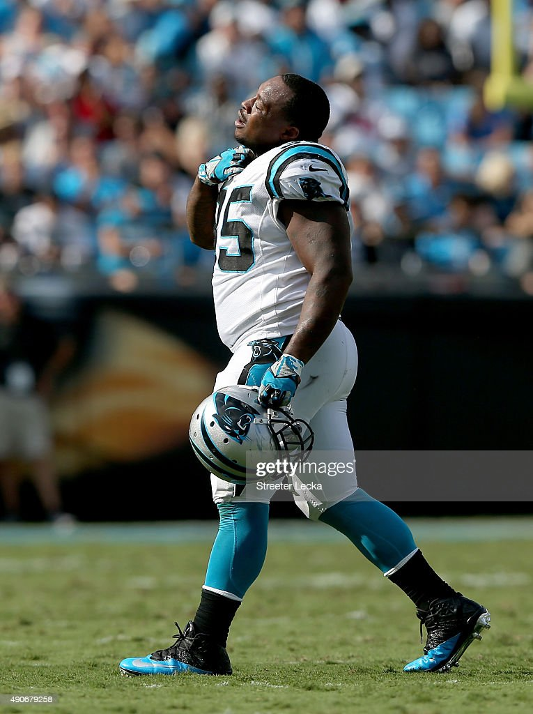 Mike Tolbert of the Carolina Panthers during their game at Bank of America Stadium on September 20 2015 in Charlotte North Carolina