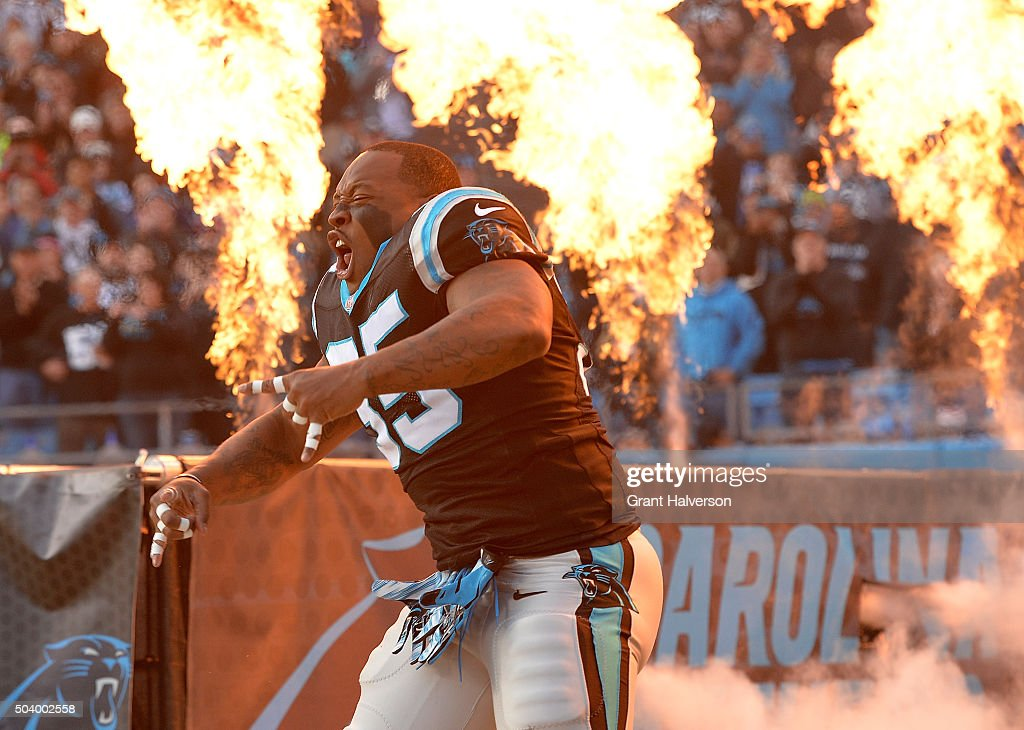 Mike Tolbert of the Carolina Panthers is introduced during their game against the Tampa Bay Buccaneers at Bank of America Stadium on January 3 2016...