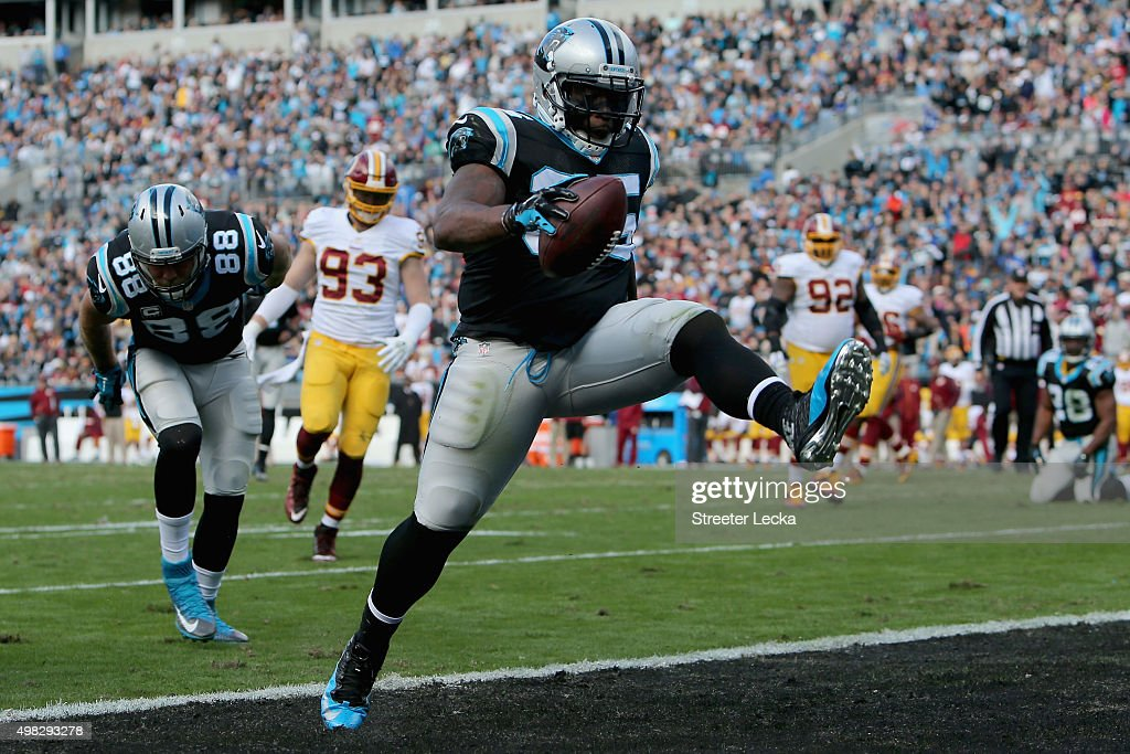 Mike Tolbert of the Carolina Panthers scores a touchdown against the Washington Redskins in the 1st quarter during their game at Bank of America...
