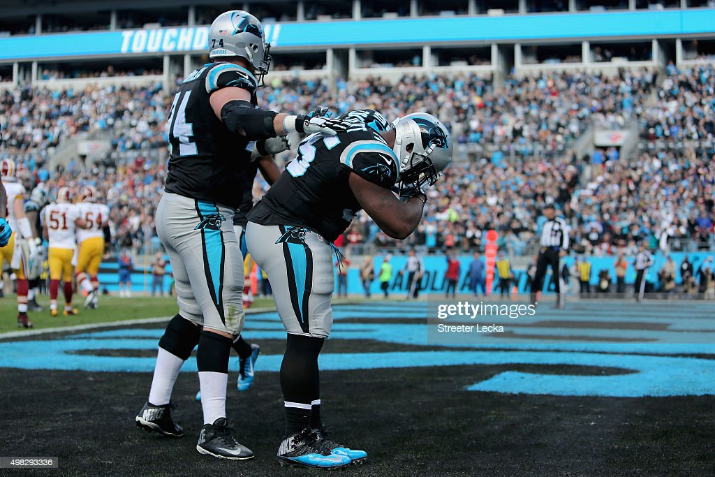 Mike Tolbert of the Carolina Panthers takes a bow after scoring a touchdown against the Washington Redskins in the 1st quarter during their game at...