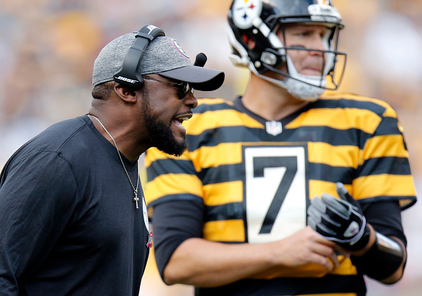 Mike Tomlin of the Pittsburgh Steelers coaches during the game against the New York Jets on October 9 2016 at Heinz Field in Pittsburgh Pennsylvania
