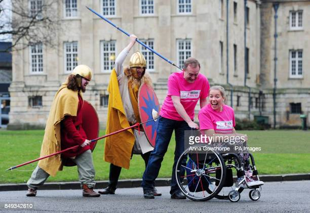 Mike Tomlinson the husband of the late charity fundraiser Jane Tomlinson and double gold Paralympian Hannah Cockcroft are chased by two Vikings...