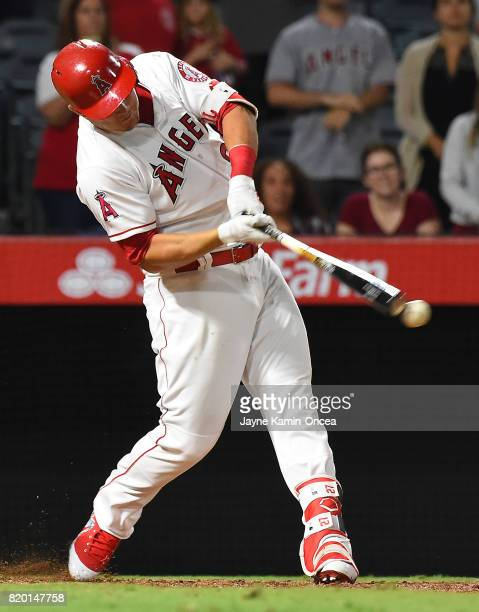 Mike Trout of the Los Angeles Angels at bat in the game against the Washington Nationals at Angel Stadium of Anaheim on July 18 2017 in Anaheim...