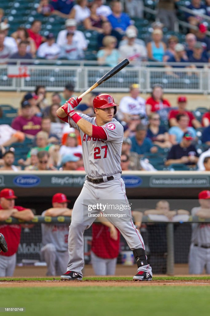 <a gi-track='captionPersonalityLinkClicked' href=/galleries/search?phrase=Mike+Trout&family=editorial&specificpeople=7091306 ng-click='$event.stopPropagation()'>Mike Trout</a> #27 of the Los Angeles Angels bats against the Minnesota Twins on August 9, 2013 at Target Field in Minneapolis, Minnesota. The Twins defeated the Angels 6-3.