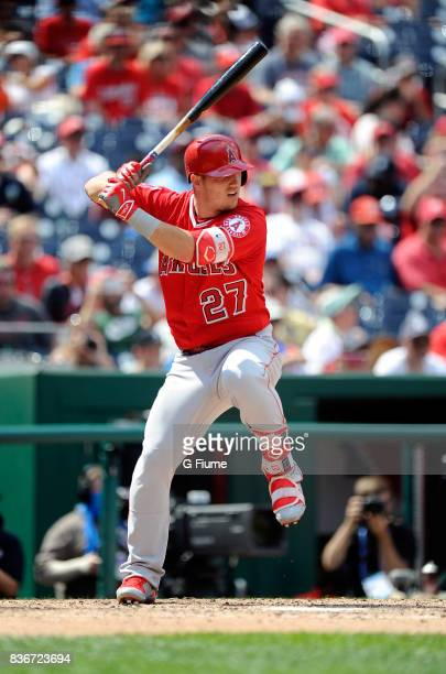 Mike Trout of the Los Angeles Angels bats against the Washington Nationals at Nationals Park on August 16 2017 in Washington DC