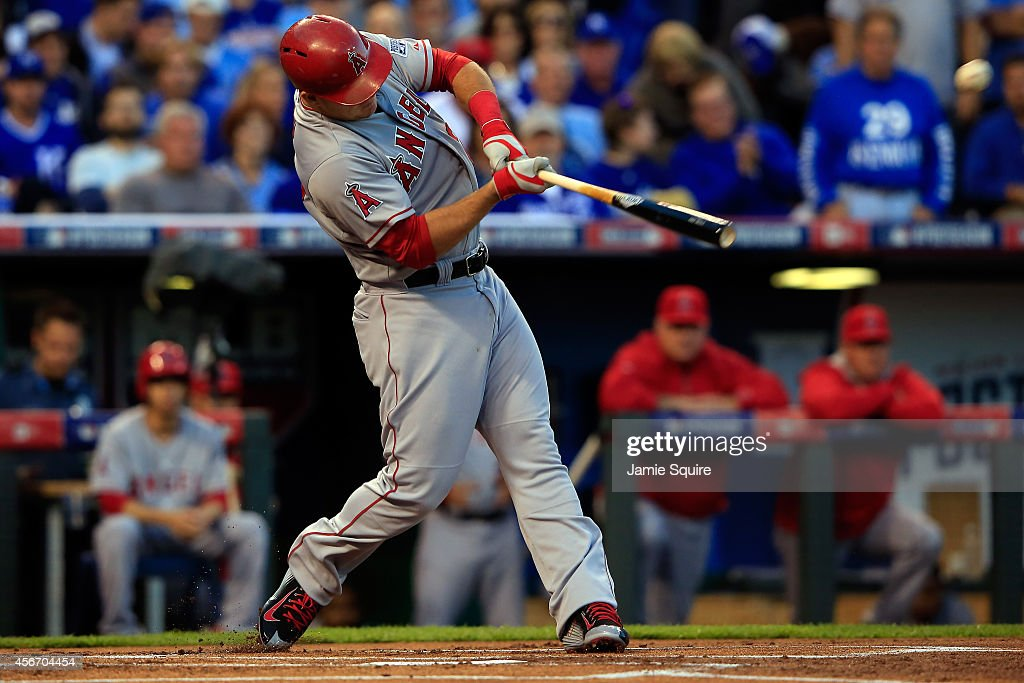 Mike Trout of the Los Angeles Angels hits a home run in the first inning against the Kansas City Royals during Game Three of the American League...