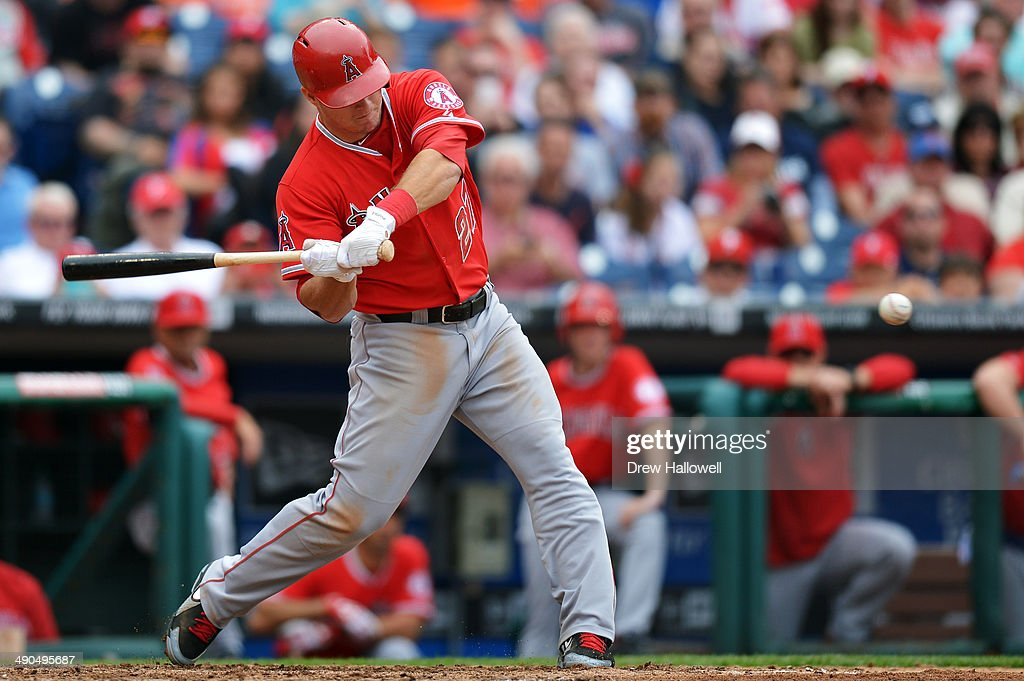 Mike Trout #27 of the Los Angeles Angels hits a triple in the seventh inning against the Philadelphia Phillies at Citizens Bank Park on May 14, 2014 in Philadelphia, Pennsylvania. The Angels won 3-0.