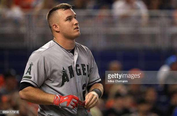 Mike Trout of the Los Angeles Angels looks on during a game against the Miami Marlins at Marlins Park on May 28 2017 in Miami Florida