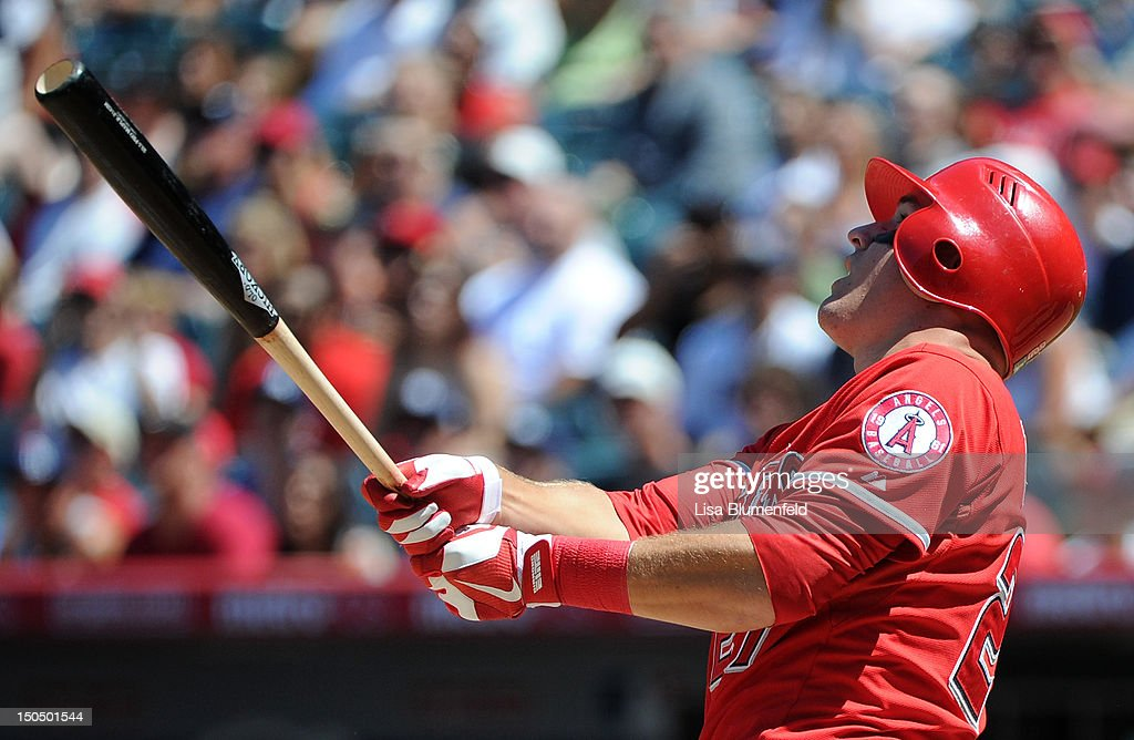<a gi-track='captionPersonalityLinkClicked' href=/galleries/search?phrase=Mike+Trout&family=editorial&specificpeople=7091306 ng-click='$event.stopPropagation()'>Mike Trout</a> #27 of the Los Angeles Angels of Anaheim bats against the Tampa Bay Rays at Angel Stadium of Anaheim on August 19, 2012 in Anaheim, California.