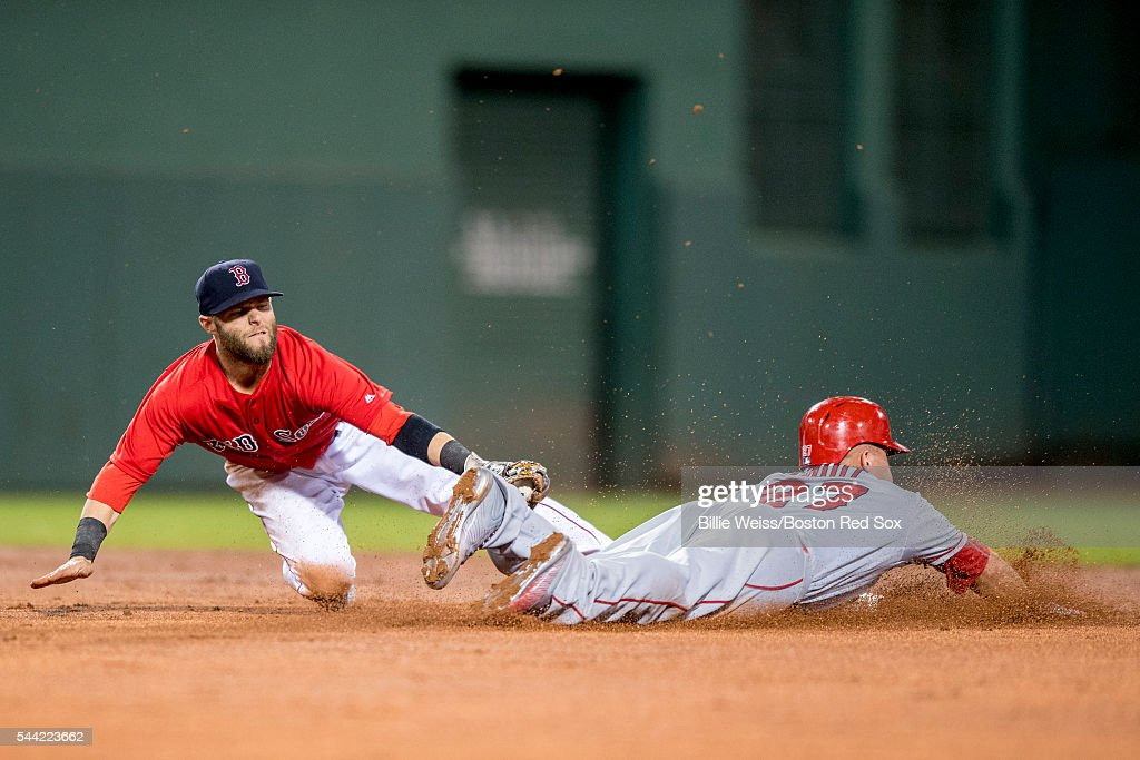 <a gi-track='captionPersonalityLinkClicked' href=/galleries/search?phrase=Mike+Trout&family=editorial&specificpeople=7091306 ng-click='$event.stopPropagation()'>Mike Trout</a> #27 of the Los Angeles Angels of Anaheim dives as he steals second base and avoids the tag of <a gi-track='captionPersonalityLinkClicked' href=/galleries/search?phrase=Dustin+Pedroia&family=editorial&specificpeople=836339 ng-click='$event.stopPropagation()'>Dustin Pedroia</a> #15 of the Boston Red Sox during the seventh inning of a game on July1, 2016 at Fenway Park in Boston, Massachusetts.