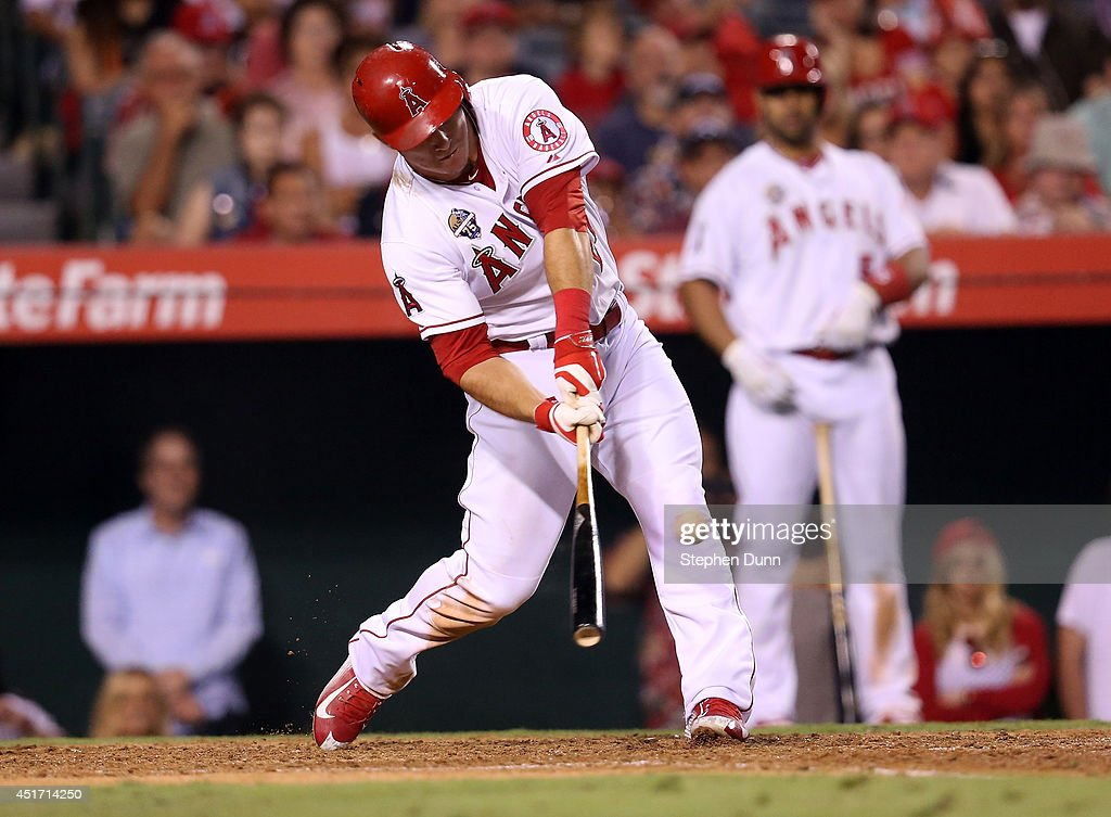 Mike Trout of the Los Angeles Angels of Anaheim hits a game winning walk off home run to lead off the ninth inning against the Houston Astros at...