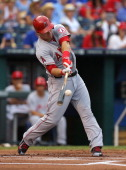 Mike Trout of the Los Angeles Angels of Anaheim hits a home run in the first inning against the Kansas City Royals at Kauffman Stadium on June 27...
