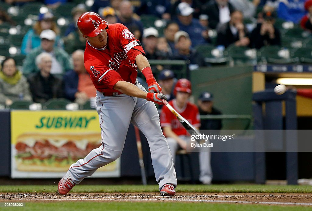 Mike Trout #27 of the Los Angeles Angels of Anaheim hits a triple in the third inning against the Milwaukee Brewers at Miller Park on May 4, 2016 in Milwaukee, Wisconsin.
