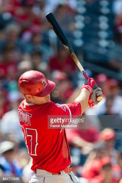 Mike Trout of the Los Angeles Angels of Anaheim hits against the Washington Nationals in the ninth inning at Nationals Park on August 16 2017 in...