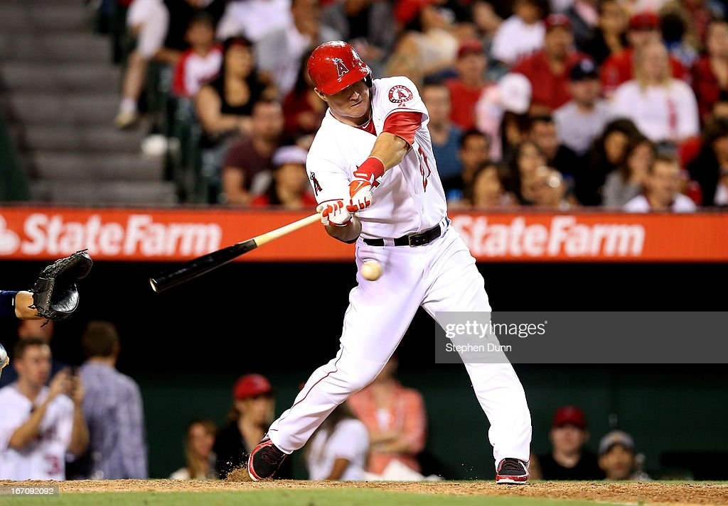 <a gi-track='captionPersonalityLinkClicked' href=/galleries/search?phrase=Mike+Trout&family=editorial&specificpeople=7091306 ng-click='$event.stopPropagation()'>Mike Trout</a> #27 of the Los Angeles Angels of Anaheim hits an RBI double in the eighth inning against the Detroit Tigers at Angel Stadium of Anaheim on April 19, 2013 in Anaheim, California.