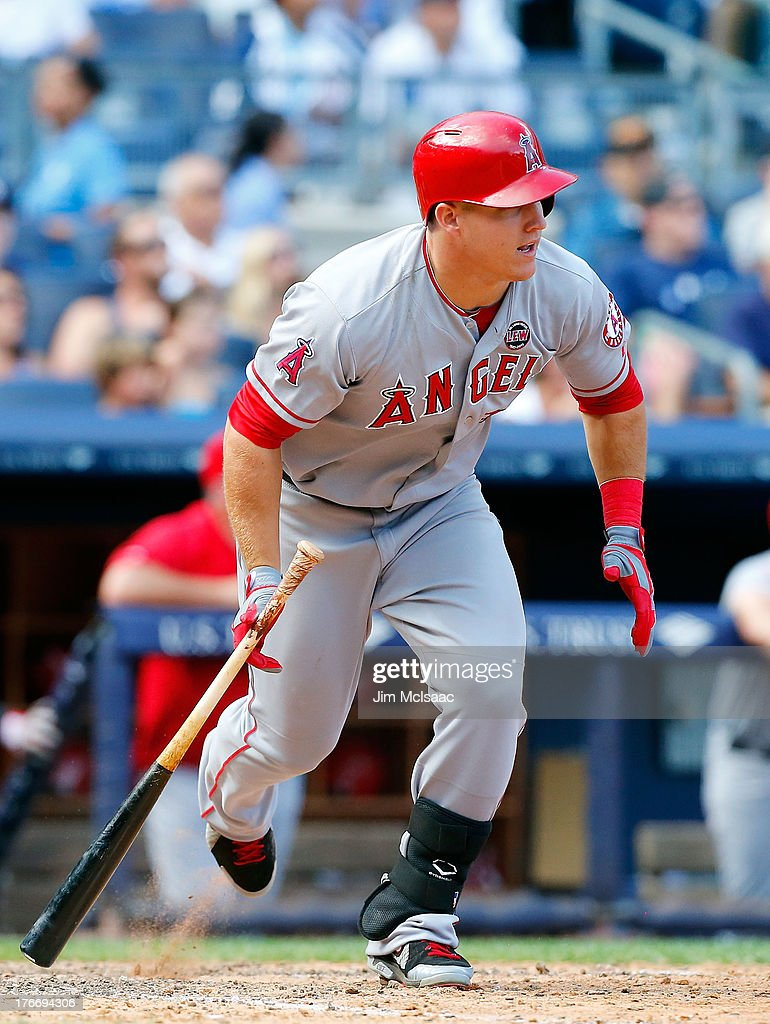 Mike Trout #27 of the Los Angeles Angels of Anaheim in action against the New York Yankees at Yankee Stadium on August 15, 2013 in the Bronx borough of New York City. The Angels defeated the Yankees 8-4.