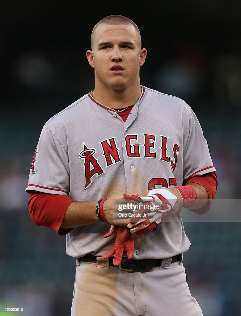 Mike Trout #27 of the Los Angeles Angels of Anaheim looks on against the Seattle Mariners at Safeco Field on October 3, 2012 in Seattle, Washington.