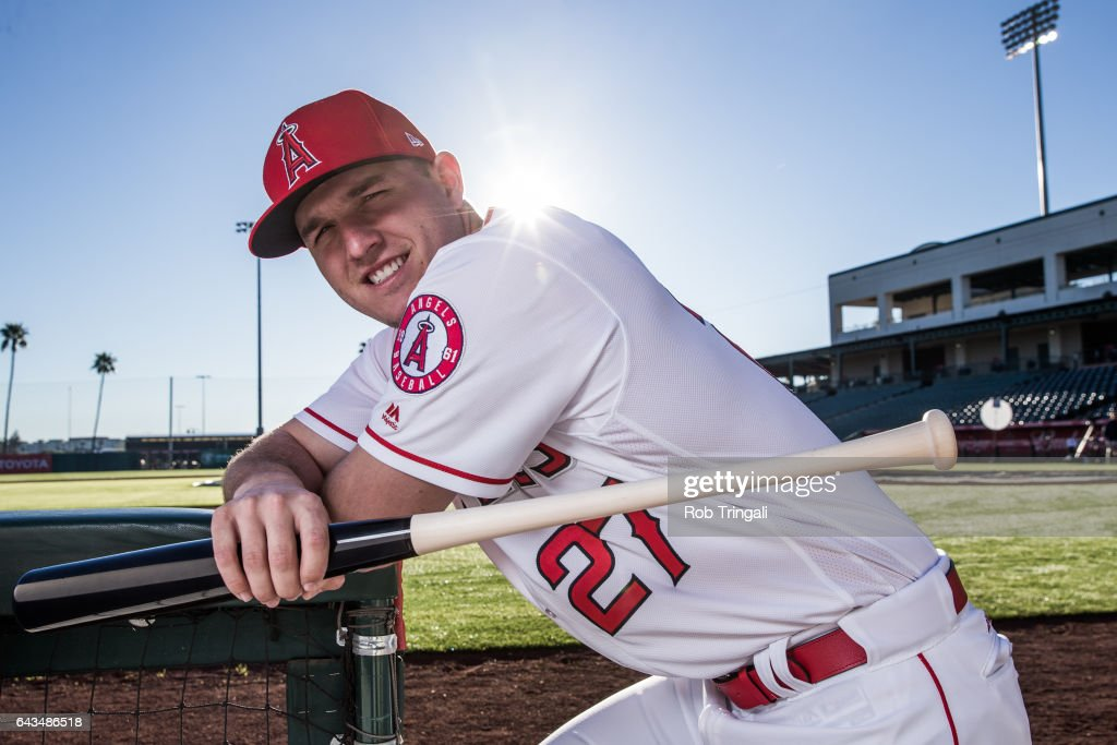 Mike Trout of the Los Angeles Angels of Anaheim poses for a portrait during Angels Photo Day at Tempe Diablo Stadium on February 21, 2017 in Tempe, Arizona.