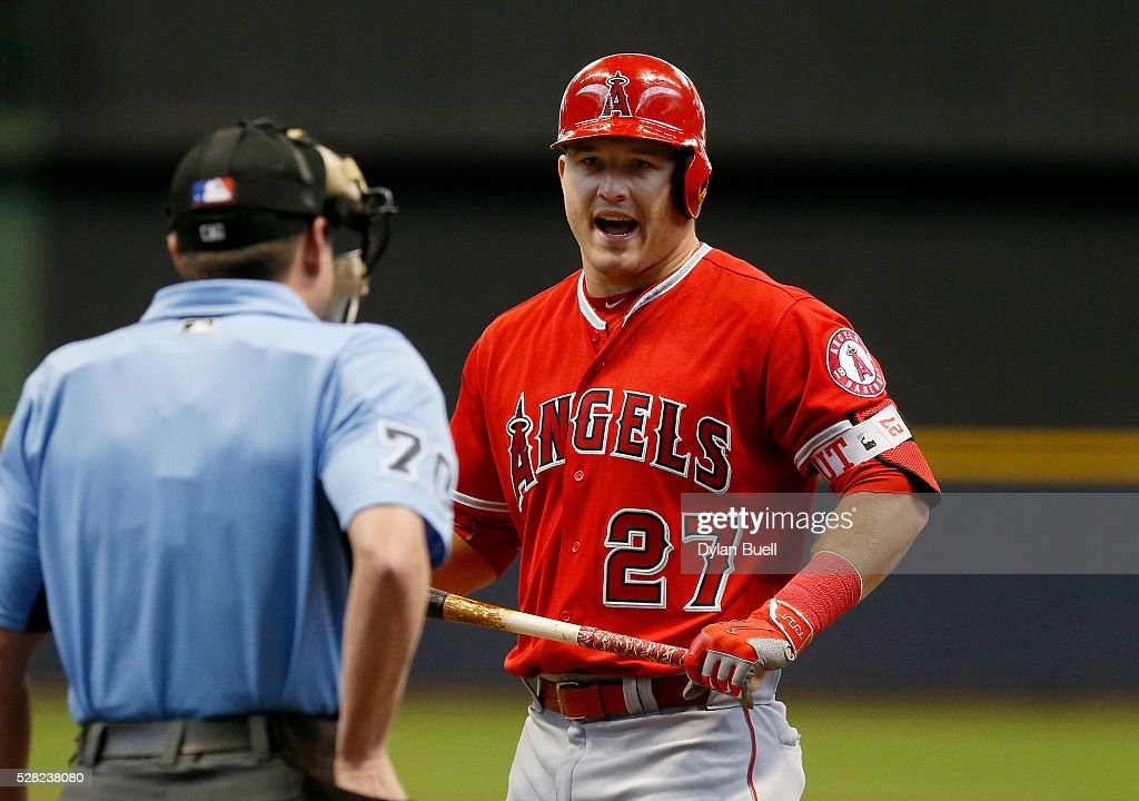 <a gi-track='captionPersonalityLinkClicked' href=/galleries/search?phrase=Mike+Trout&family=editorial&specificpeople=7091306 ng-click='$event.stopPropagation()'>Mike Trout</a> #27 of the Los Angeles Angels of Anaheim reacts after being called out on strikes by umpire D.J. Reyburn in the first inning against the Milwaukee Brewers at Miller Park on May 4, 2016 in Milwaukee, Wisconsin.