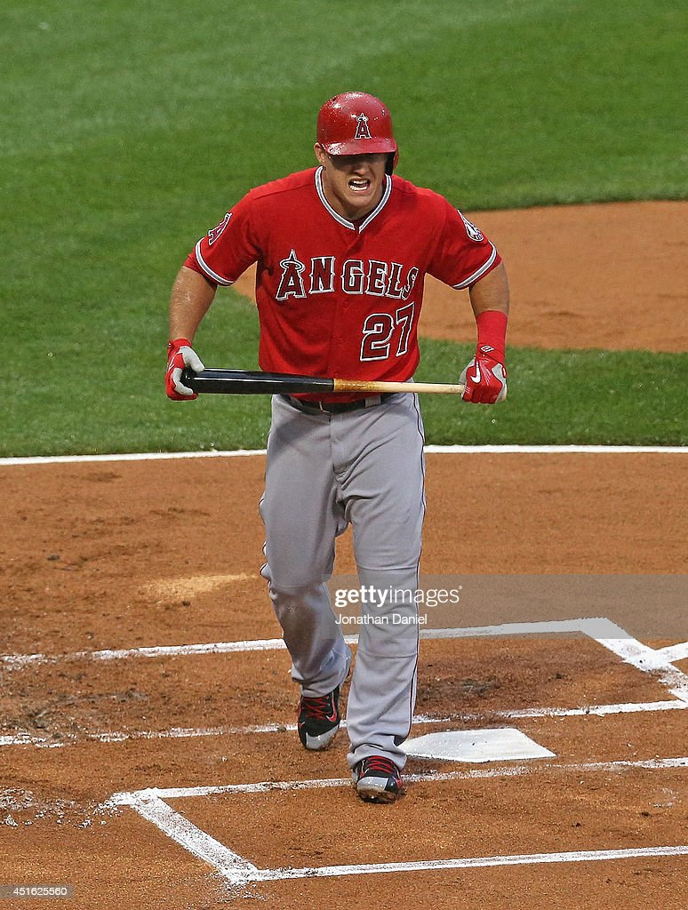 Mike Trout #27 of the Los Angeles Angels of Anaheim reacts after striking out in the 1st inning against the Chicago White Sox at U.S. Cellular Field on July 2, 2014 in Chicago, Illinois.