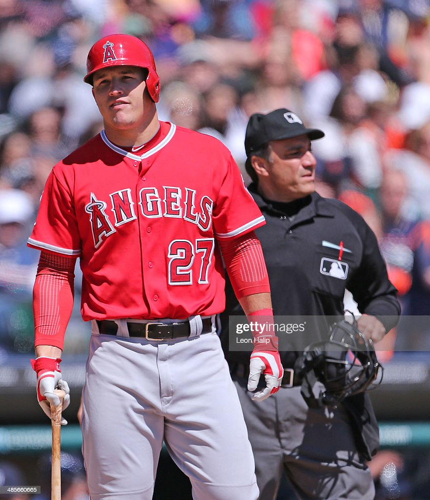 <a gi-track='captionPersonalityLinkClicked' href=/galleries/search?phrase=Mike+Trout&family=editorial&specificpeople=7091306 ng-click='$event.stopPropagation()'>Mike Trout</a> #27 of the Los Angeles Angels of Anaheim reacts after striking out in the sixth inning of the game against the Detroit Tigers at Comerica Park on April 19, 2014 in Detroit, Michigan. The Tigers defeated the Angels 5-2.