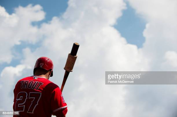 Mike Trout of the Los Angeles Angels of Anaheim stands on deck in the first inning during a game against the Washington Nationals at Nationals Park...