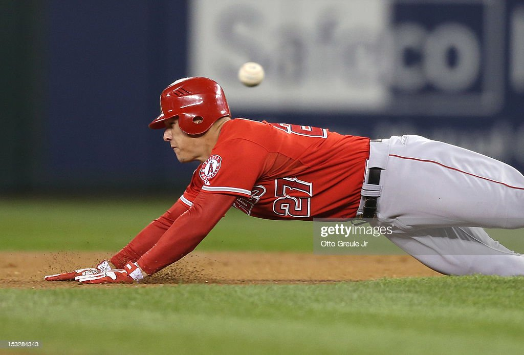 <a gi-track='captionPersonalityLinkClicked' href=/galleries/search?phrase=Mike+Trout&family=editorial&specificpeople=7091306 ng-click='$event.stopPropagation()'>Mike Trout</a> #27 of the Los Angeles Angels of Anaheim steals second base ahead of the throw against the Seattle Mariners at Safeco Field on October 2, 2012 in Seattle, Washington.