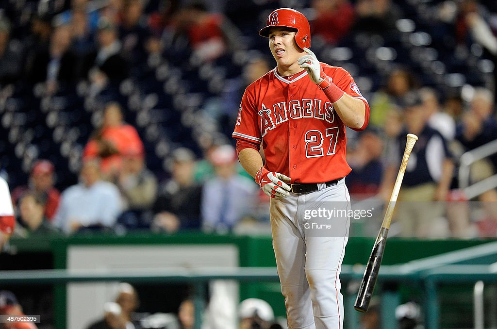 Mike Trout of the Los Angeles Angels reacts after striking out against the Washington Nationals at Nationals Park on April 22 2014 in Washington DC