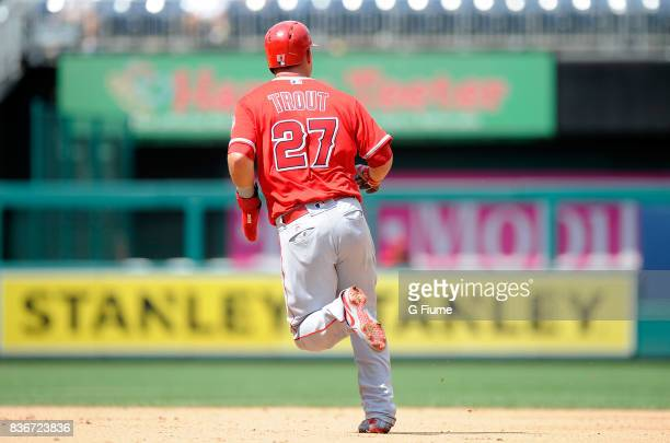 Mike Trout of the Los Angeles Angels runs the bases against the Washington Nationals at Nationals Park on August 16 2017 in Washington DC